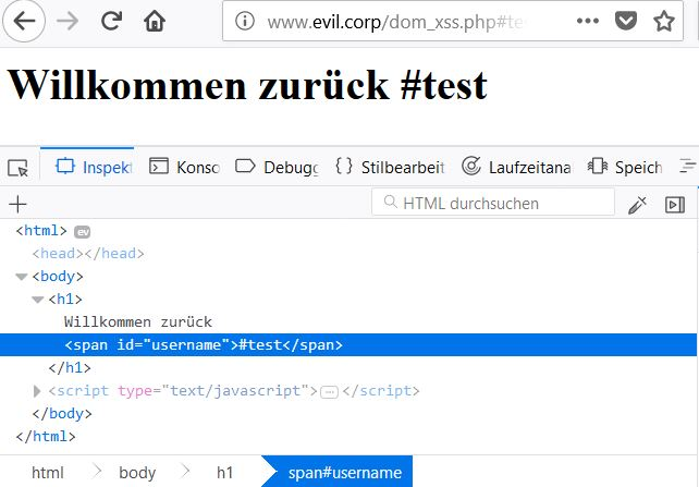 DOM-based Cross-Site Scripting - XSS mit Hilfe von JavaScript.