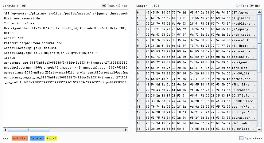 Ansicht eines Paketes im Comparer mit Hex und Text View